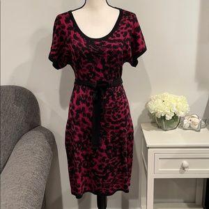 Calvin Klein Fuchsia Black Animal Print Sweater Dress S
